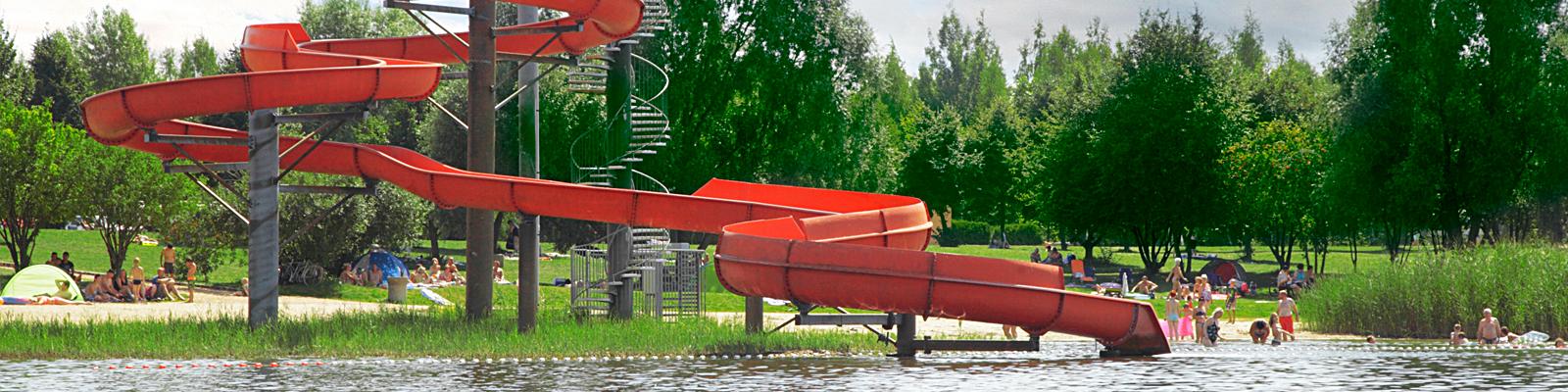 Erholungspark Mondsee Aktiv im Wasser Rutsche